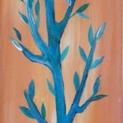 Arbre à la lune bleue, peinture acrylique
